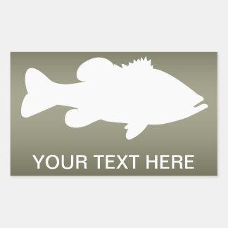 Plantilla de la pesca de perca americana pegatina rectangular