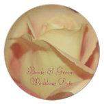 Plantilla de la placa del boda del rosa amarillo plato