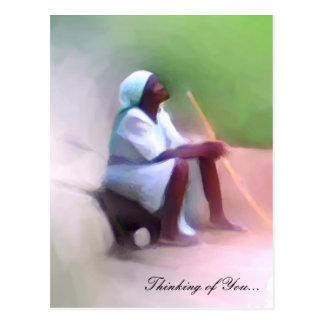 Plantilla de la postal - sentada haitiana negra de