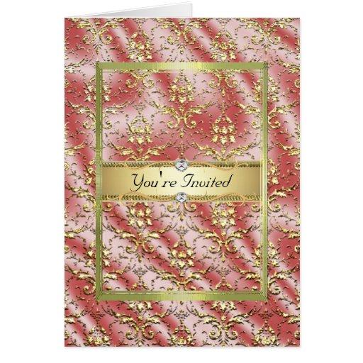 Plantilla de la seda del damasco del rosa del oro tarjeta de felicitación
