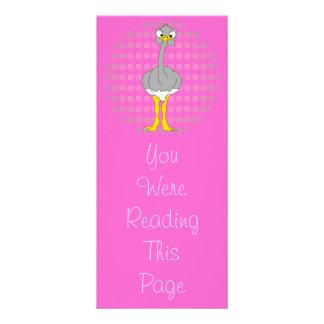 Plantilla de la señal de la avestruz tarjeta publicitaria a todo color