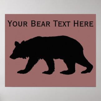 Plantilla de la silueta del oso negro póster