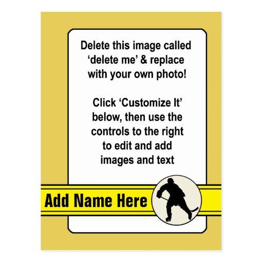 Plantilla de la tarjeta de comercio del hockey tarjeta postal