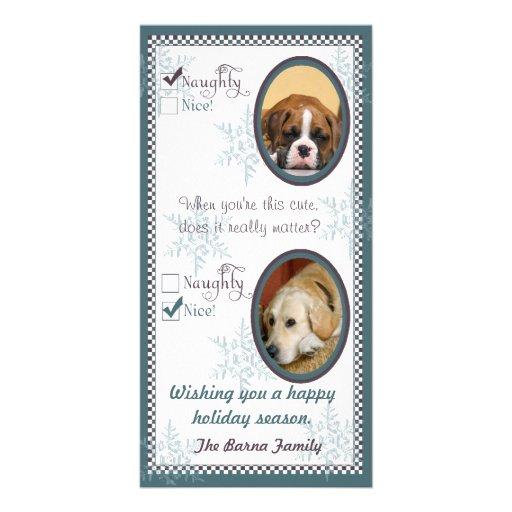 Plantilla de la tarjeta de Navidad dos del perro Tarjeta Fotográfica Personalizada