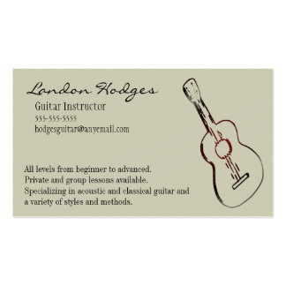 Plantilla de la tarjeta de visita de la guitarra