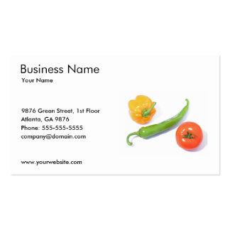 Plantilla de la tarjeta de visita de las verduras