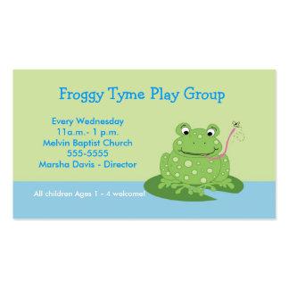 Plantilla de la tarjeta de visita del Froggy de la