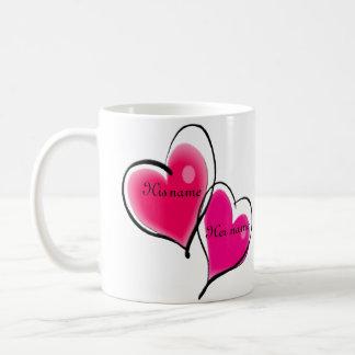 Plantilla de la taza de dos corazones