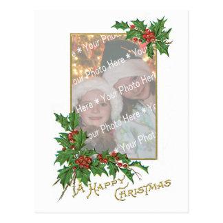 Plantilla de las felices Navidad del vintage de la Tarjeta Postal