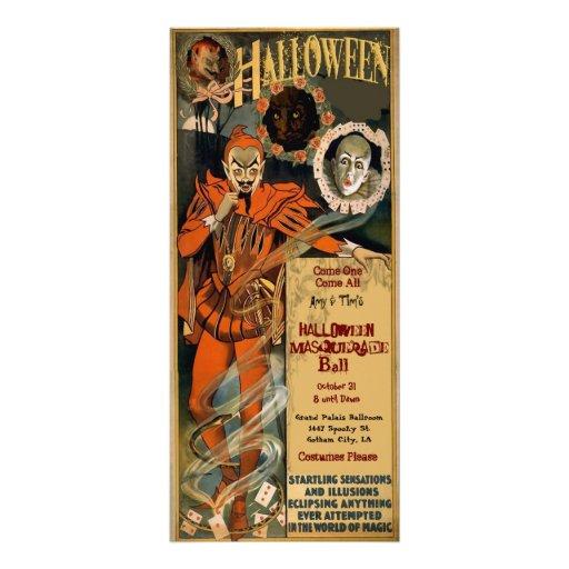 Plantilla de las invitaciones de la mascarada de tarjetas publicitarias