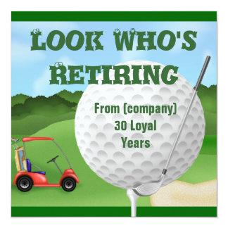 """PLANTILLA de las invitaciones del retiro del golf Invitación 5.25"""" X 5.25"""""""