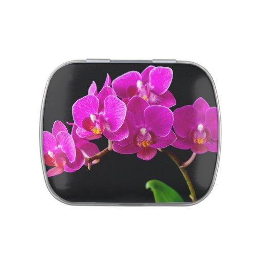 Plantilla de las orquídeas de la flor de la frascos de caramelos