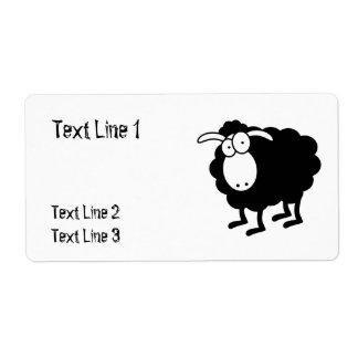 Plantilla de las ovejas negras para la etiqueta de etiquetas de envío