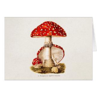 Plantilla de las setas del rojo de la seta de los  tarjeta de felicitación