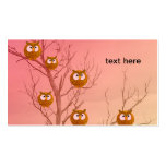 Plantilla de las tarjetas de visita de los búhos