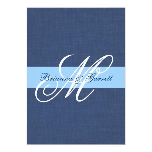 """Plantilla de lino del monograma del boda de la invitación 5"""" x 7"""""""