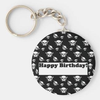 Plantilla de los cráneos del feliz cumpleaños llavero