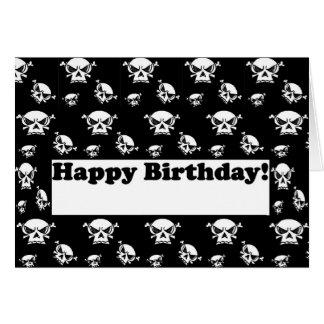 Plantilla de los cráneos del feliz cumpleaños tarjeta de felicitación