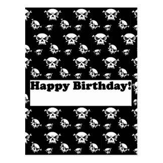 Plantilla de los cráneos del feliz cumpleaños postales