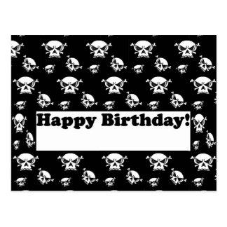 Plantilla de los cráneos del feliz cumpleaños postal