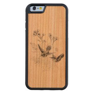Plantilla de los pájaros de la antigüedad del funda de iPhone 6 bumper cerezo