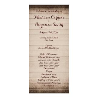 Plantilla de madera del programa del boda del lona