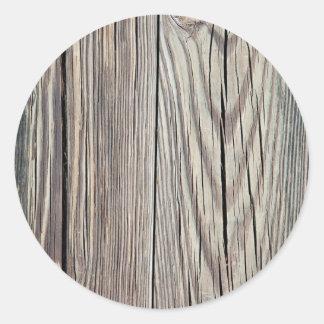Plantilla de madera resistida del fondo del grano pegatina redonda