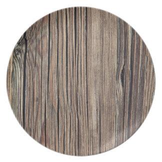 Plantilla de madera resistida del fondo del tablón plato de cena