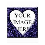 Plantilla de mármol azul con la abertura del coraz tarjetas postales