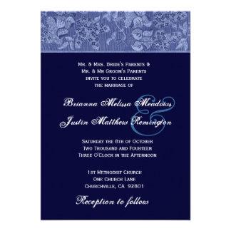 Plantilla de medianoche y azul del boda del vintag comunicados personales