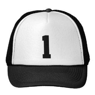 Plantilla de número, número uno 1 color negro gorros