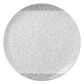 Plantilla de plata del espacio en blanco del plato de comida