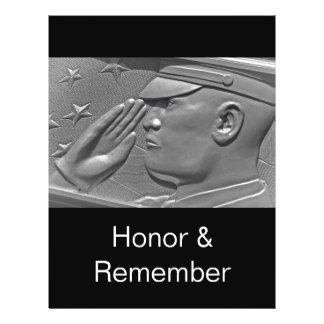 "Plantilla del aviador del saludo del honor del hér folleto 8.5"" x 11"""