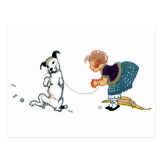 Plantilla del baile del pequeño perro para el chic postal