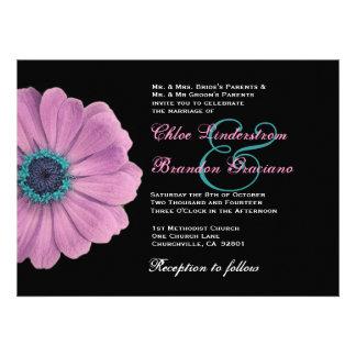 Plantilla del boda de la margarita rosada y azul anuncios personalizados