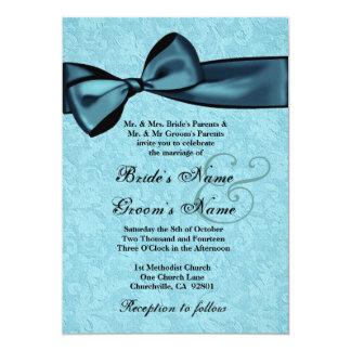"""Plantilla del boda del damasco de las azules invitación 5"""" x 7"""""""