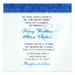 Plantilla del boda del damasco del azul real y del invitacion personalizada