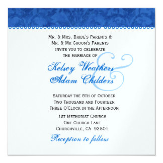 """Plantilla del boda del damasco del azul real y del invitación 5.25"""" x 5.25"""""""