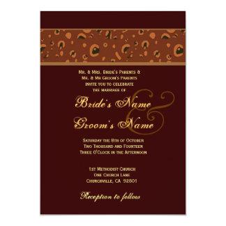 """Plantilla del boda del leopardo del chocolate y invitación 5"""" x 7"""""""