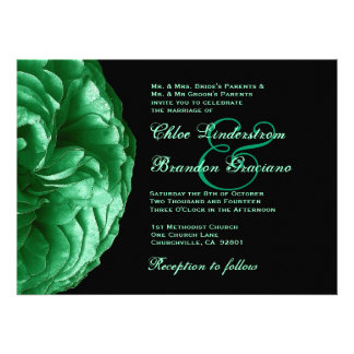 Plantilla del boda del rosa verde invitación personalizada
