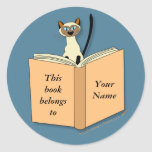 Plantilla del Bookplate del gato siamés Etiquetas Redondas