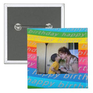 Plantilla del botón/Pin de la foto del cumpleaños Pin Cuadrada 5 Cm