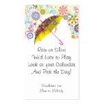 Plantilla del calendario del paraguas 2013 de la t tarjeta de visita