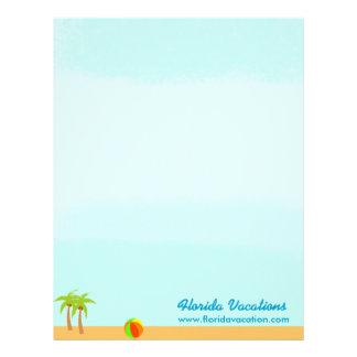 Plantilla del Caribe de las vacaciones de la playa Membrete Personalizado