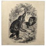 Plantilla del chimpancé del mono de los 1800s de l servilletas