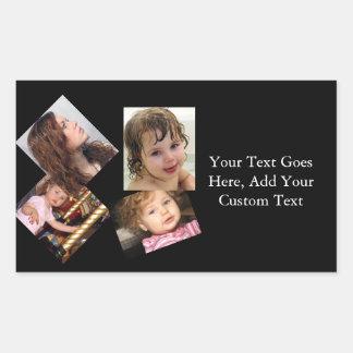 Plantilla del collage de cuatro fotos pegatina rectangular