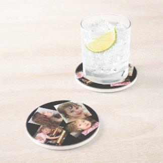 Plantilla del collage de cuatro fotos posavasos para bebidas