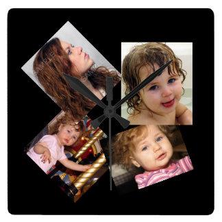 Plantilla del collage de cuatro fotos reloj cuadrado