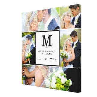 Plantilla del collage de la foto del boda con el m impresión en lona estirada