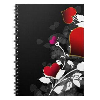 Plantilla del corazón del rosa rojo cuadernos